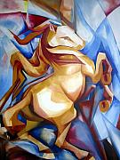 Cubism Paintings - Rearing horse by Leyla Munteanu