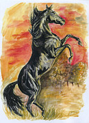 Black Stallion Paintings - Rearing by Jana Goode