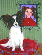 Papillon Dog Paintings - Reba Jane and Butterfly by Rebecca Korpita