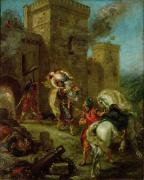 Shield Painting Metal Prints - Rebecca Kidnapped by the Templar Metal Print by Ferdinand Victor Eugene Delacroix