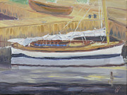 Docked Boat Painting Framed Prints - Rebecca Framed Print by Robert P Hedden