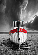 Stormy Metal Prints - Rebecca Wearing Just Red Metal Print by Meirion Matthias