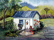 Charming Cottage Painting Posters - Rebeccas Shack Poster by Gretchen Allen
