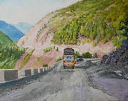 Factories Paintings - Rebuilding Highway Balakot by Ifthikar Cader