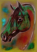 Arabian Horse Mixed Media Posters - Recalling Arabia II Poster by Tarja Stegars