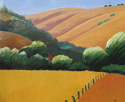 Haze Painting Prints - Receeding Hills Print by Gary Coleman