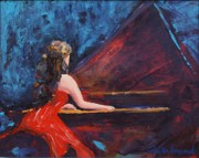 Music Theme Paintings - Recital in Red by Phyllis Howard
