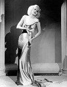 Satin Dress Metal Prints - Reckless, Jean Harlow, In A  Dress Metal Print by Everett
