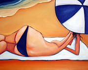 Baking Painting Posters - Reclining at Manly Poster by Leanne Wilkes