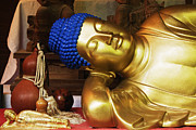 Buddha Artwork Prints - Reclining Buddha Statue Print by Jeremy Woodhouse
