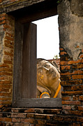 Blue Brick Framed Prints - Reclining Buddha view through a window Framed Print by Ulrich Schade