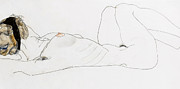 Breast Drawings Posters - Reclining female nude Poster by Egon Schiele