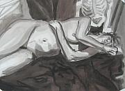 Human Skeleton Drawings - Reclining Female Nude by Kelly Butz