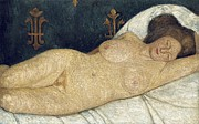 Eyes  Paintings - Reclining female nude by Paula Modersohn-Becker