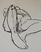 Male Nudes Drawings Prints - Reclining figure Print by Joanne Claxton