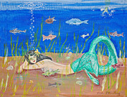 Under The Ocean  Paintings - Reclining Mermaid by Gordon Wendling