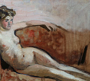 Sofa Framed Prints - Reclining Nude Framed Print by Edouard Vuillard