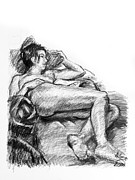 Grayscale Drawings - Reclining nude female charcoal drawing by Adam Long