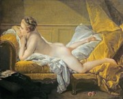 Cushions Painting Framed Prints - Reclining Nude Framed Print by Francois Boucher