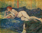 Henri De Toulouse-lautrec Paintings - Reclining Nude by Henri De Toulouse-Lautrec