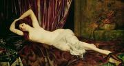Odalisque Painting Framed Prints - Reclining Nude Framed Print by Henri Fantin Latour