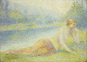 Contemplative Painting Prints - Reclining Nude Print by Hippolyte Petitjean