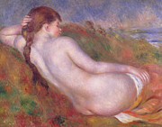 Pierre Renoir Framed Prints - Reclining Nude in a Landscape Framed Print by Pierre Auguste Renoir