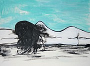 Brunette Painting Prints - Reclining Nude Print by Julie Lueders