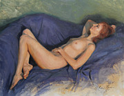 Nudes Originals - Reclining Nude on Blue by Anna Bain