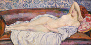 Sofa Framed Prints - Reclining Nude  Framed Print by Theo van Rysselberghe