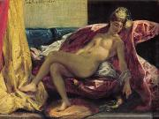Cushions Painting Framed Prints - Reclining Odalisque Framed Print by Ferdinand Victor Eugene Delacroix