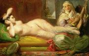 Harem Painting Framed Prints - Reclining Odalisque Framed Print by Theodore Chasseriau