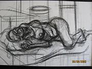 Chiaroscuro Originals - Reclining pose of a nude woman  by Shant Beudjekian