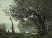 Reflection Of Trees Paintings - Recollections of Mortefontaine by Jean Baptiste Corot