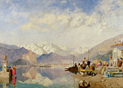 Italian Landscape Paintings - Recollections of the Lago Maggiore Market Day at Pallanza by James Baker Pyne