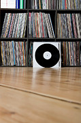 Hardwood Posters - Records Leaning Against Shelves Poster by Halfdark