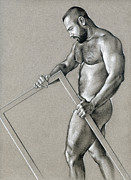 Male Nude Drawings - Rectangle 2 by Chris  Lopez