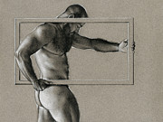 Male Nude Drawings - Rectangle by Chris Lopez