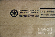 Recycle Prints - Recycle Symbol On Mailer Print by Photo Researchers, Inc.