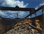 Machinery Metal Prints - Recycling Scrap Steel During World War Metal Print by Everett