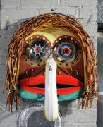 Wall Mask Mixed Media - Recycling Spirit Mask by Bill  Thomson