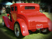 American Graffiti Digital Art Framed Prints - RED - many parts - HOT ROD Framed Print by Gary Baird