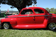 Sportscar Photos - Red 1948 Plymouth Hotrod . 5D16449 by Wingsdomain Art and Photography