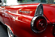 Domestic Cars Prints - Red 1955 Ford 40A Thunderbird . Wing View Print by Wingsdomain Art and Photography