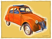 Rg Mcmahon Framed Prints - Red 2CV Framed Print by RG McMahon