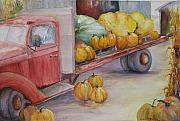 Pumpkins Paintings - Red 42 Truck with Pumpkins by Sukey Jacobsen