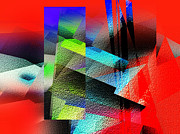 Scenery Digital Art Originals - Red Abstract 1 by Anil Nene