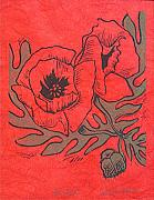 Red Poppies Drawings - Red Alert by Lorie Spiegel