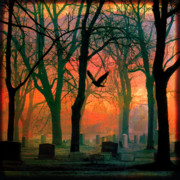 Haunting Digital Art - Red Among The Trees by Gothicolors And Crows