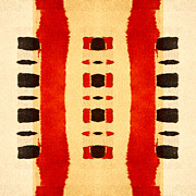 Bold Tapestries Textiles Prints - Red and Black Panel Number 1 Print by Carol Leigh